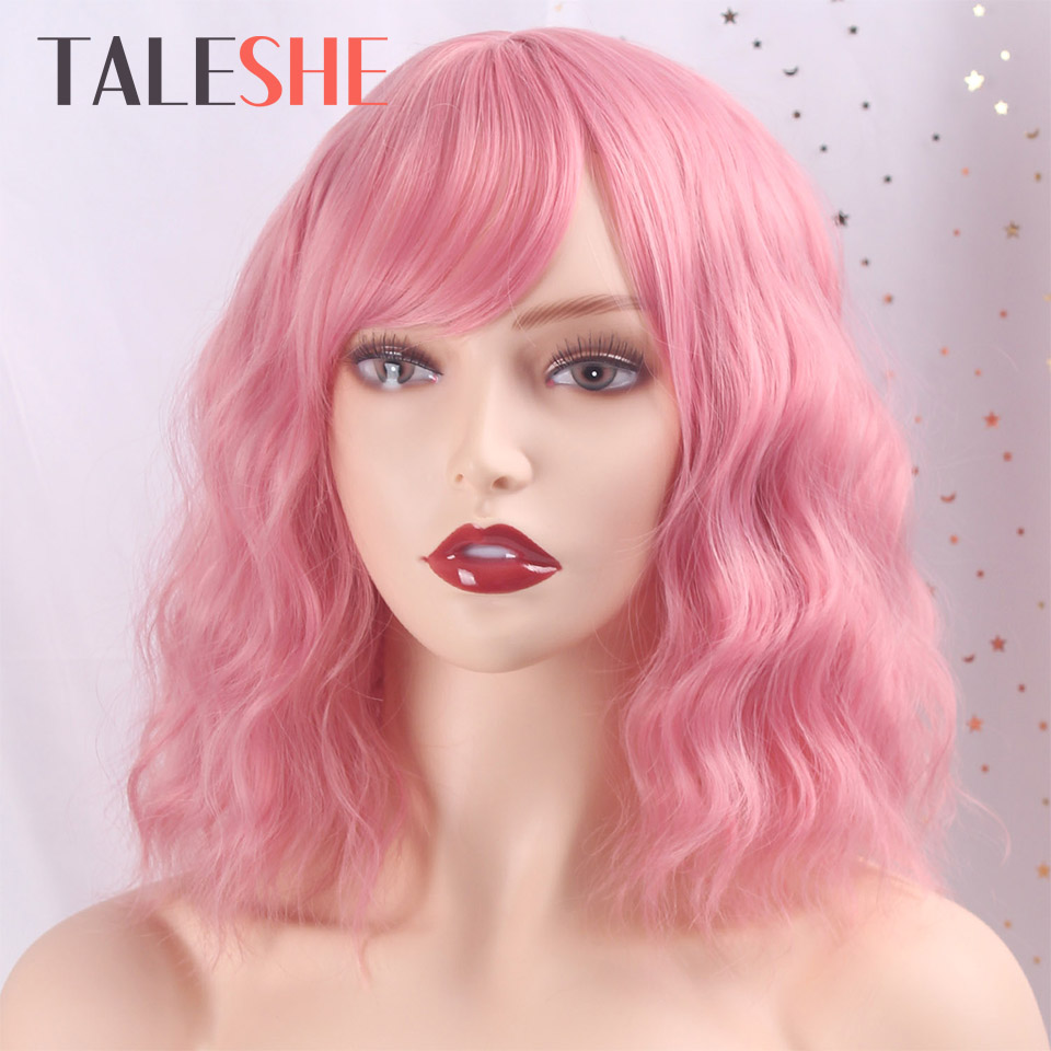 TALESHE Short Wavy Pink Wig For Women African American Synthetic Hair Purple Wigs With Bangs Natural Heat Resistant Cosplay