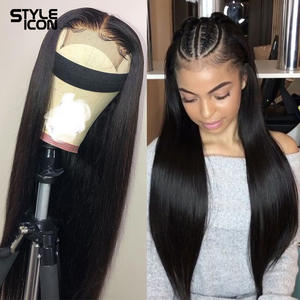 Styleicon Human-Hair-Wigs Lace-Frontal Straight for Black-Women Brazilian 13--4 8-30-Inches
