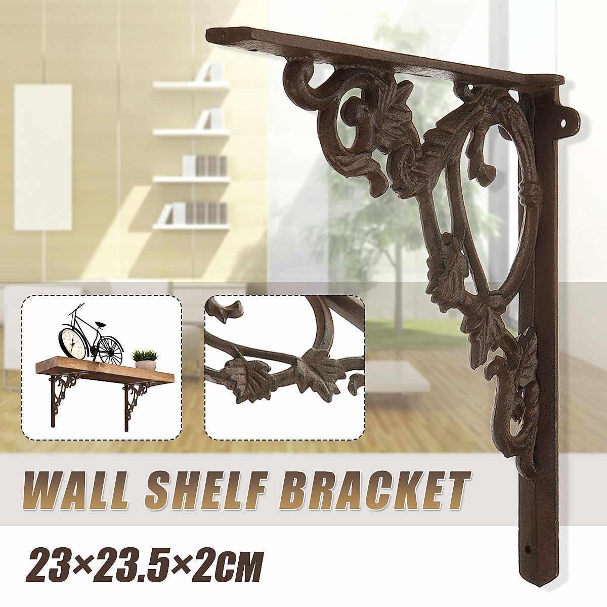 2Pcs Wall Mounted Shelf Bracket Metal Hanging Holder 21.5x21.5cm