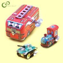 1 pieza Mini Vintage Metal de estaño juguetes tren autobús tanque diseño niños infancia clásico cuerda hasta reloj lata juguete clásico GYH