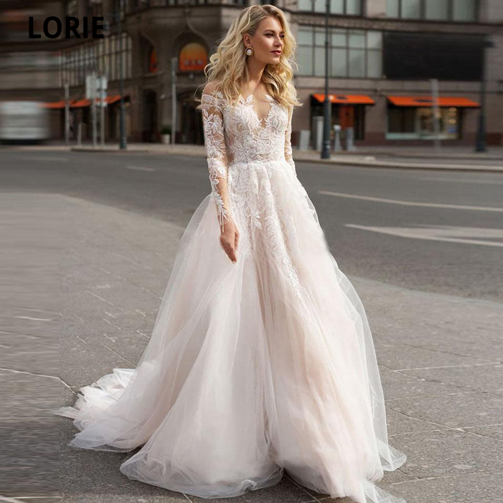 LORIE Charming Lace Wedding Dresses Beach A-line Bridal Gowns Illusion Long Sleeve Open Back Princess Party Dresses Custom Made