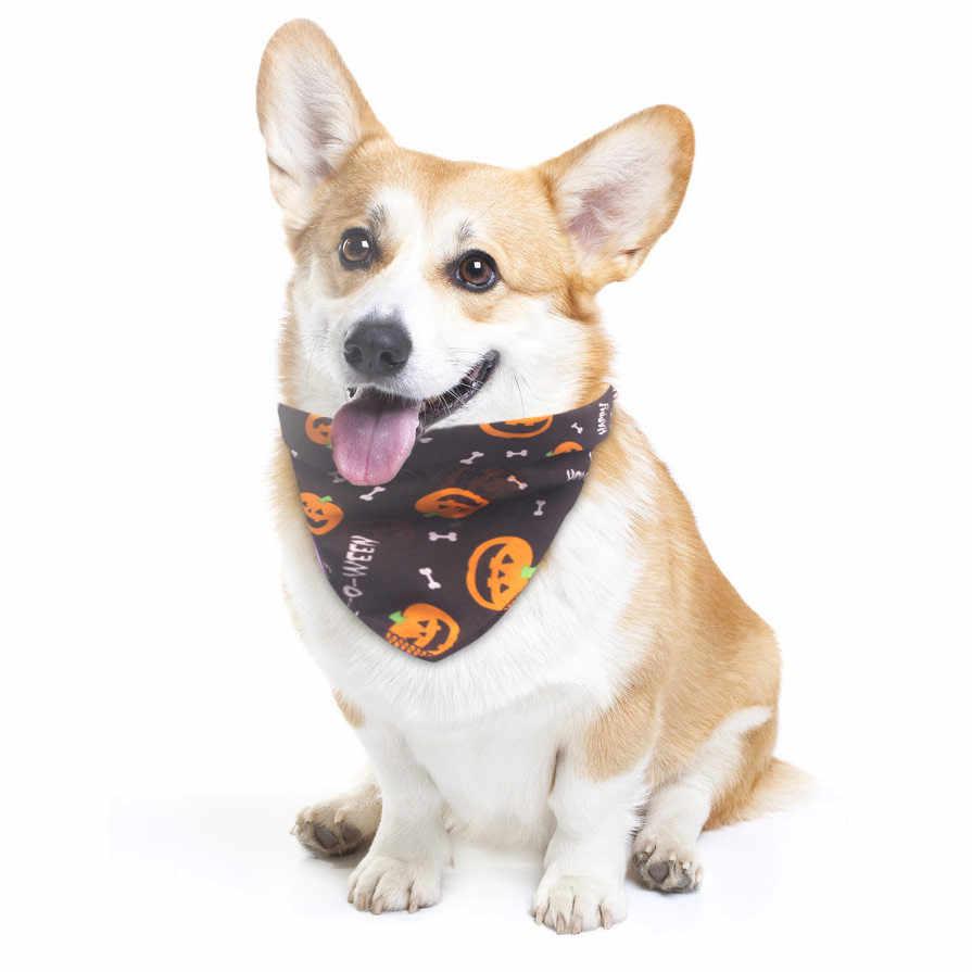 هالوين مريلة الحيوانات الأليفة منشفة لعاب الأطفال هالوين مع هريرة الكلب زي جرو قبعة الزخرفية المنزل الحيوانات الأليفة لمنع الأشياء القذرة مثلث