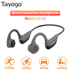 Tayogo S2 Bone Conduction Earphone Bluetooth 5.0 Wireless Headphones Outdoor Sport Sweatproof Headset with Mic Handsfree Headset