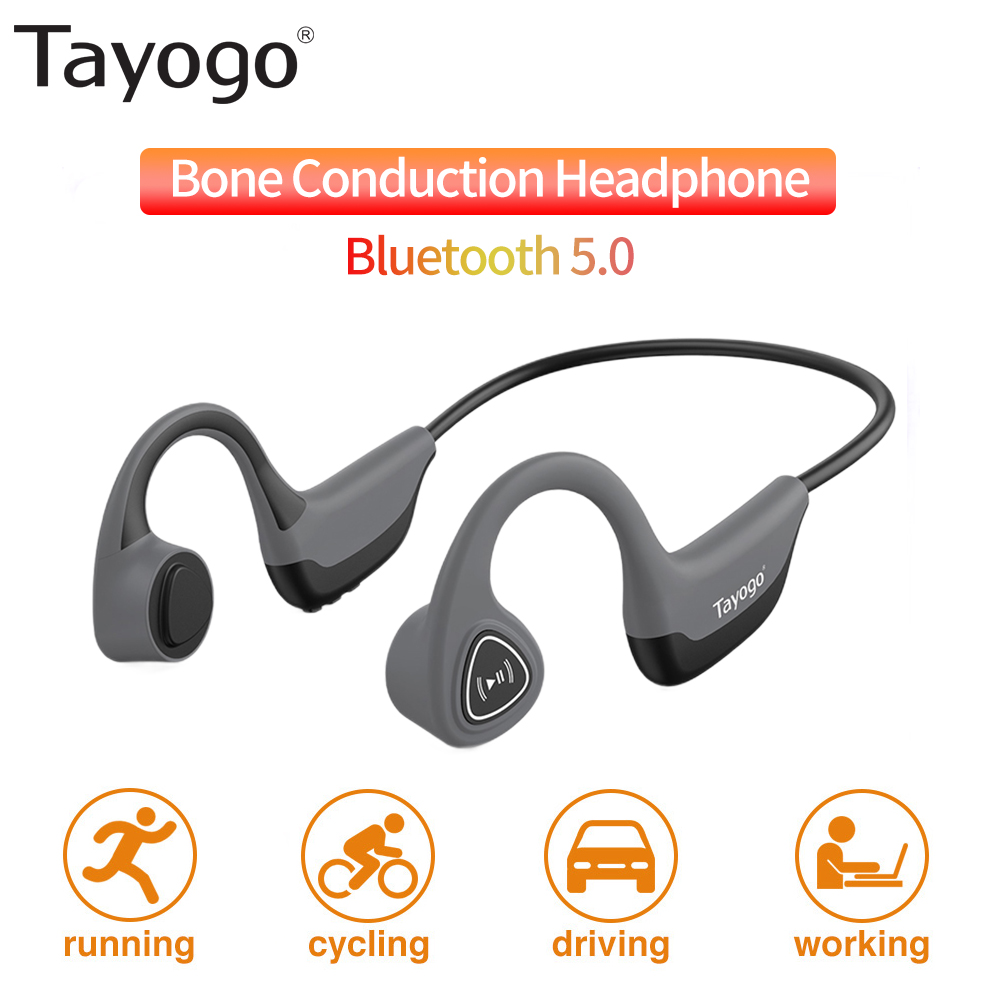 Tayogo <font><b>S2</b></font> Bone Conduction Earphone <font><b>Bluetooth</b></font> 5.0 Wireless Headphones Outdoor Sport Sweatproof Headset with Mic Handsfree Headset image