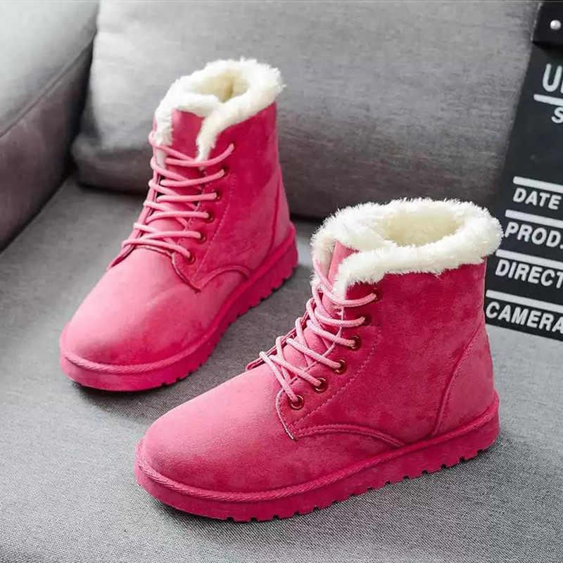 รองเท้าผู้หญิง Plush Snow BOOTS Faux Suede ฤดูหนาวรองเท้าผู้หญิง Botines คลาสสิกฤดูหนาวรองเท้าสำหรับหญิงข้อเท้า Botas Mujer