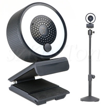 Autofocus Webcam Lamp 1080P 2K HD Web Camera with Microphone Adjustable LED Ring Light Stand Web cam For Streaming PC Camera