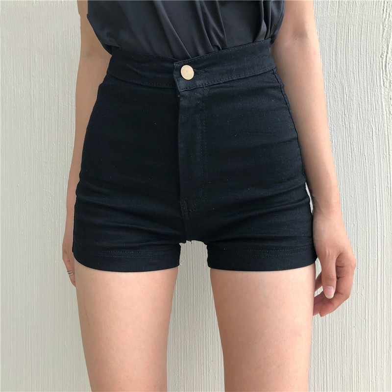 Shorts Women Black High Waist Skinny Elastic Korean Style Womens Hip Solid Comfortable Trendy Button Fly Zipper Daily 2020New
