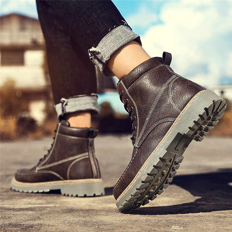 Zapatos デ Hombre Mocasines 冬のワークブーツ男性ビッグサイズぬいぐるみ暖かいシューズメンズヴィンテージ革 Bota Ş 非スリップ安全靴 6