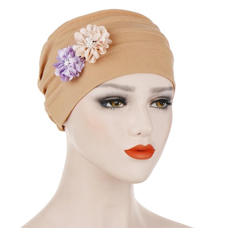 Fashionhe Muslim Hijab Wrap Hats Women Hooded Scaves Turban Cap Beads Head Scarf Tie Hat Headwear
