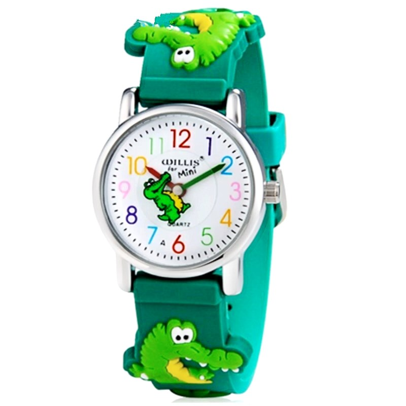 WILLIS Brand Electronic Quartz Watch Children 3D Crocodile Watches For Boys Sports Waterproof Clock Primary School Student Watch