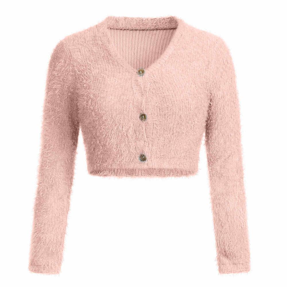 毛皮のような V ネック女子ショート長袖トップス無地ウエストカジュアルセーター作物ボタンシンプルなファッション女性トップス