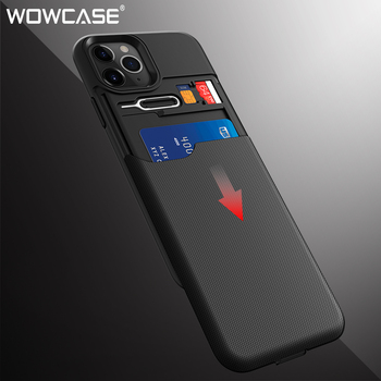 WOWCASE Armor Wallet Case For iPhone 11 Slide Credit SIM Card Slot Holder Phone Back Cover For iPhone 11 Pro XR XS Max 2019 Capa