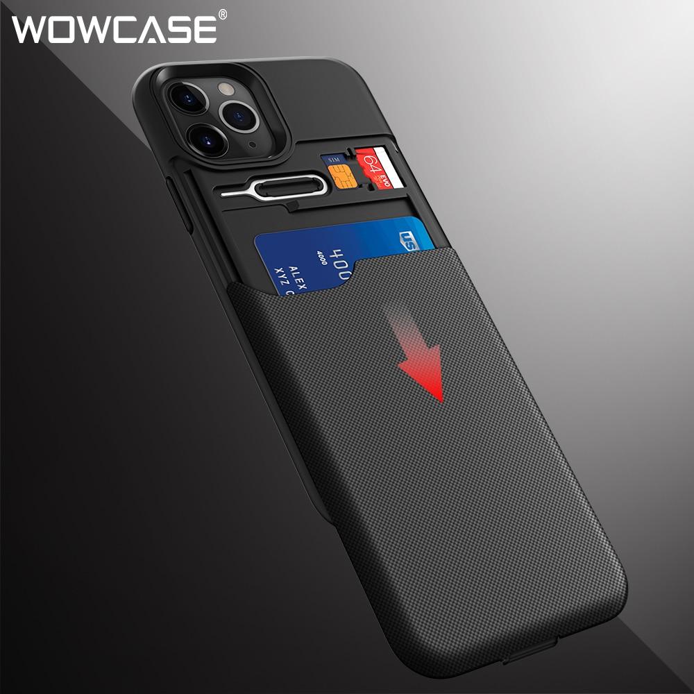 Wowcase 갑옷 지갑 케이스 아이폰 11 슬라이드 신용 sim 카드 슬롯 홀더 전화 뒷면 커버 아이폰 11 프로 xr xs 최대 2019 capa