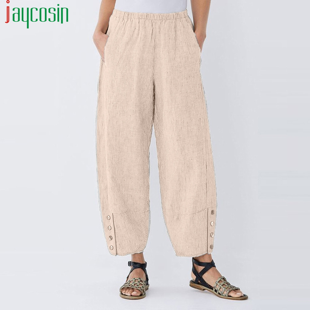 Women Trousers High Waist Loose Casual Solid Color Elastic Band Plus Size Corduroy Pants Ladies Pocket Sports Wide Leg Trousers