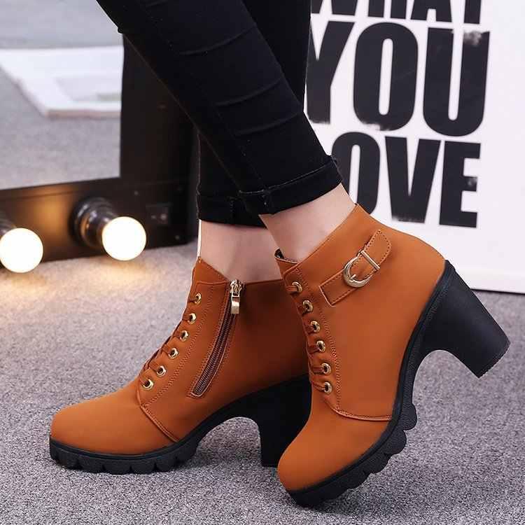 Ayakkabı topuklu siyah yüksek terlik kadın moda sıcak kış bayan moda yüksek topuk ayak bileği bağcığı botları bayanlar toka Platform ayakkabılar
