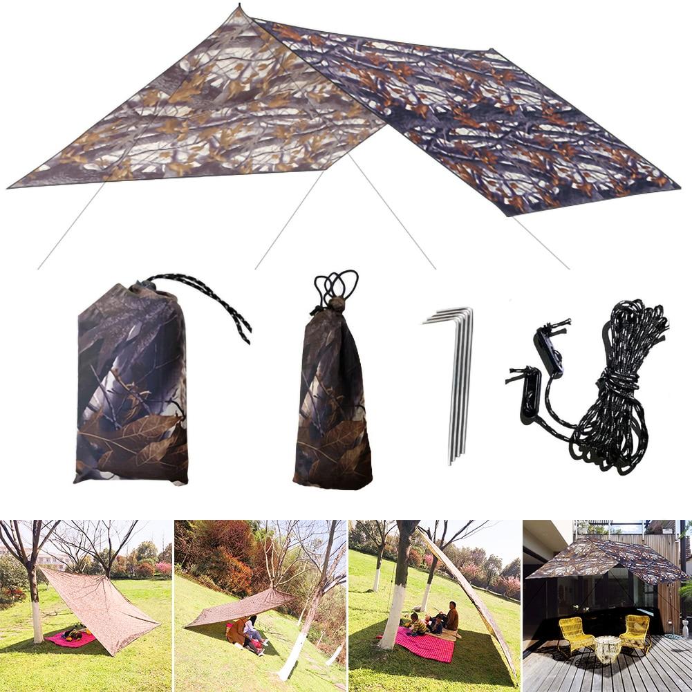 3x3 м камуфляж солнце укрытие тент палатка брезент открытый кемпинг дождь муха защита УФ пляж палатка тень кемпинг навес навес