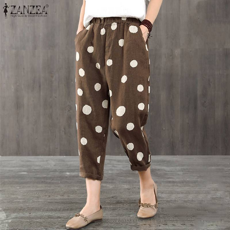 Women's Polka Print Harem   Pants   ZANZEA 2019 Spring Trousers Vintage Elastic Waist Long Pantalon Female Causal Palazzo Plus Size