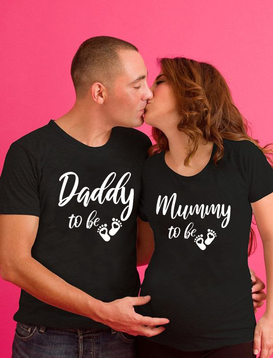 Drinking for Two Eating for Two Pregnancy Reveal Couple Black T-Shirts Set New Baby Announcement Mommy To Be Daddy To Be Wear