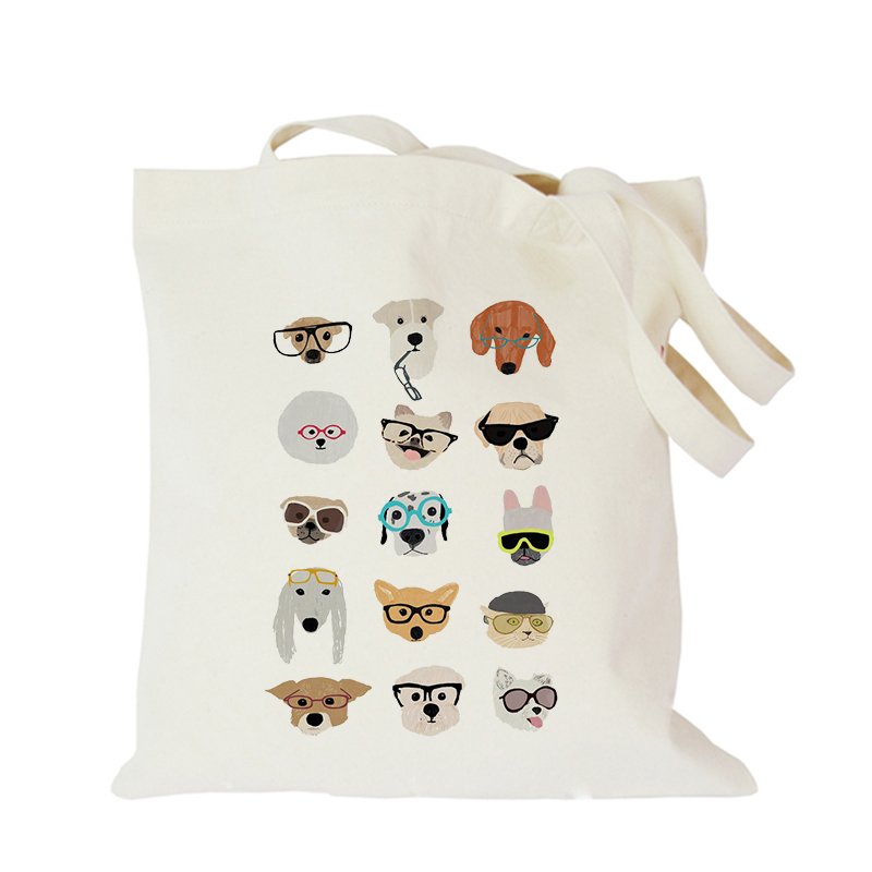 Original Pet Dog Cartoon Canvas Bag Customized Eco Tote Bag Custom Made Shopping Bags With Logo  Dachshund Shepherd Dog Poodle