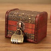 Caixa do tesouro do vintage jóias de madeira trinket caixa de armazenamento titular com bloqueio pérola anel de madeira tesouro caixa organizador