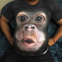 2019 Летняя мужская брендовая одежда с круглым вырезом, короткий рукав, футболка с изображением животного обезьяны/льва, 3D цифровая печать, фу...