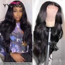 32 pulgadas 4x4 de cierre de encaje pelucas con minimechones 1X6 T parte transparente de la onda del cuerpo indio Remy largo cabello humano pelucas de encaje 120%