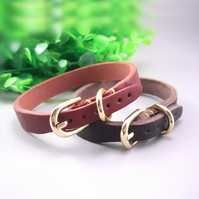 Small And Medium-sized Dogs Only Pet Collar Import Cowhide Puppy Neck Ring Dog Collar Bandana Teddy VIP