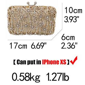 Image 5 - Boutique De FGG Hollow Out Flower Clutch Minaudiere Bag Women Crystal Evening Bags Wedding Party Dinner Floral Handbags Purses