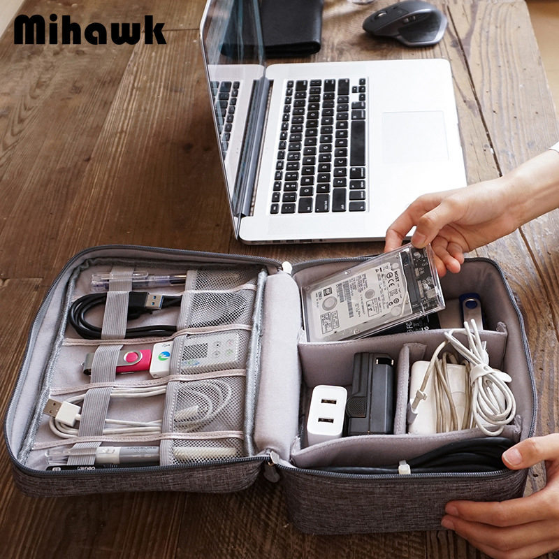 Mihawk Charger Wire Electronic Organizer Digital Gadget Pouch Travel Cable Bags Cosmetic Kit Case Wardrobe Supplies Accessories