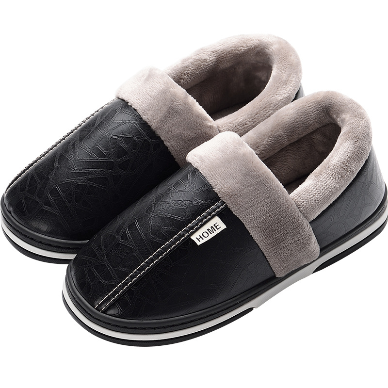 Winter House Slippers Men Leather Plush Male Shoes Waterproof Plus Anti Dirty Warm Slippers Package Non-slip