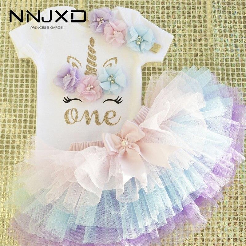 Mała księżniczka kwiatowy jednorożec sukienka dla dziewczynek 1 rok sukienka urodzinowa ciasto Smash stroje niemowlę 12 miesięcy suknia do chrztu
