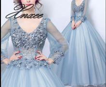Mnxee women Deep V-neck Blue Flower Fairy Long Sleeve Dress Vestido de novia XS-3XL цена
