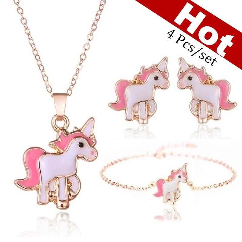 4 unids/set collar pendientes de dibujos animados collar con unicornio pendiente joyería Rosa niñas regalo joyería pendiente y collar conjunto