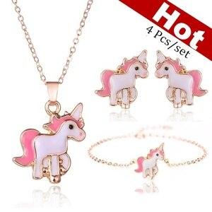 4pcs/set Necklace Earrings Cartoon Unicorn Necklace Earring Jewelry Pink Girls Gift Jewelry Jewelry Earring and Necklace Set(China)