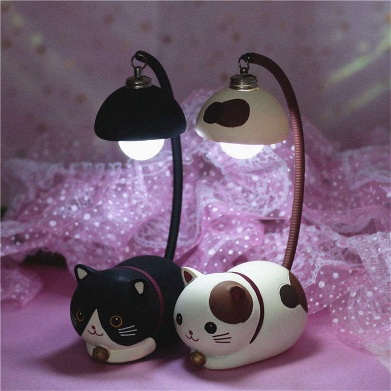 Cartoon Resin Cute Cat Night Light Boy Girl Room Decoration Desk Lamp Bedroom Bedside Lamp Birthday Present Night Light