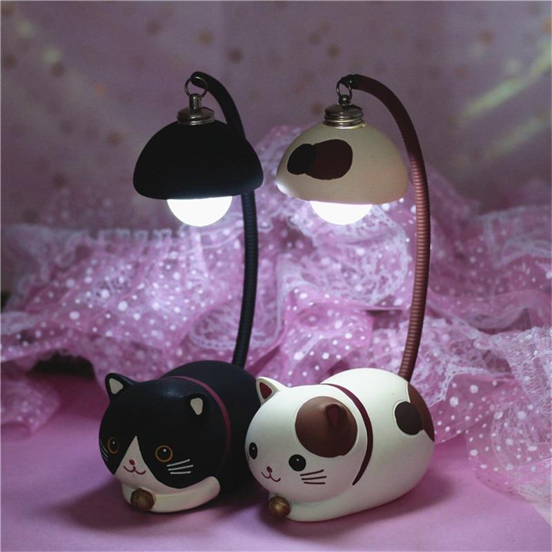 Cartoon Resin Cute Cat Night Light Boy Girl Room Decoration Desk Lamp Bedroom Bedside Lamp Birthday Present Night Light