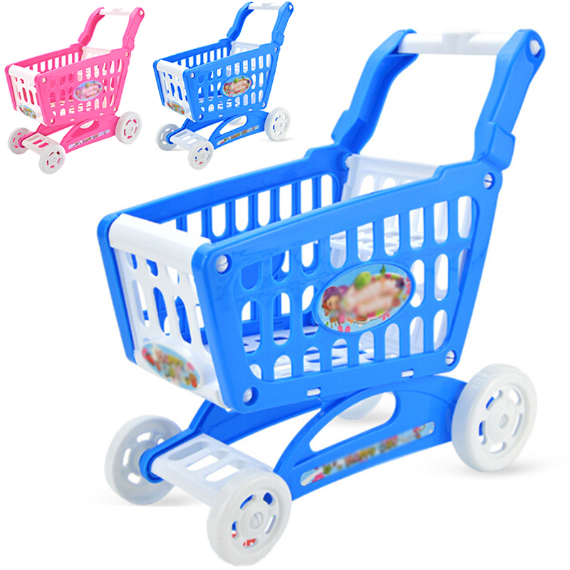 Kids Supermarket Role Play Shopping Groceries Cart Trolley Toys For Girls Kitchen Play House Simulation Fruits Pretend Baby Toy
