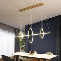Black or Gold Nordic LED Chandelier Light Acrylic Round Ring Long Lighting Hanging Lamp For Restaurant Bedroom Art Pendant Lamps