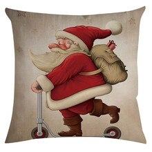 Веселая Рождественская наволочка с изображением дымохода, Луны, снеговика, мультяшная Подушка, украшение Peachein, 45*45 см, подушка для гостиной, чехол# J7