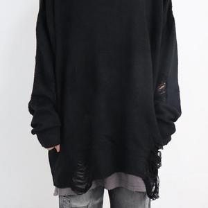 Image 3 - Printemps automne femmes mode hip hop punk pull avec trou déchiré hommes style Coréen surdimensionné pulls vintage pullover décontracté