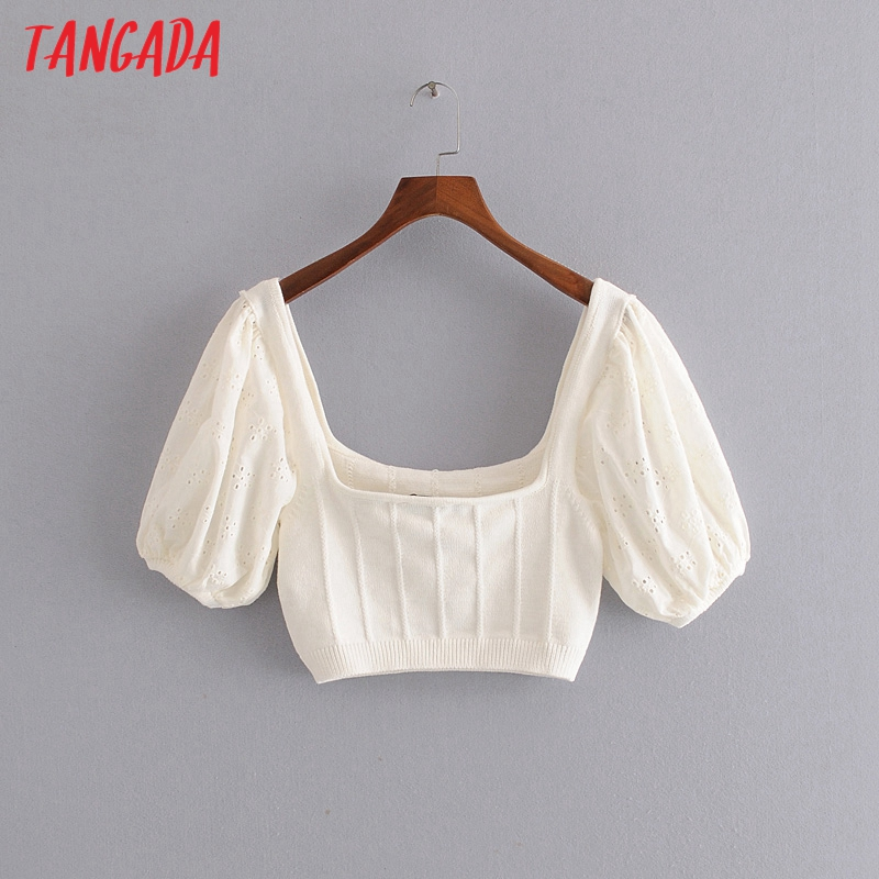 Tangada Korea Chic Women White Sweater Embroidery Short Sleeve Patchwork Scrop Knitted Jumper Tops 3H586