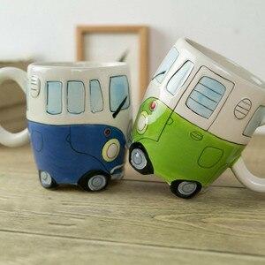 Image 1 - 英国手塗装セラミックカップクリエイティブ漫画バスカップ人格レトロ車マグ朝食ミルクコーヒー子供のギフトカップ