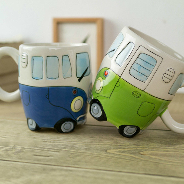 British Hand painted Ceramic Cup Creative Cartoon Bus Cup Personality Retro Car Mug Breakfast Milk Coffee Child Gift Cup