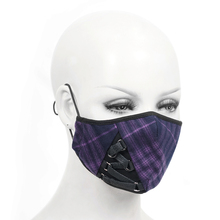 Devil Fashion Women and Men Punk Plaid Pattern Mask Fashion Dust -proof Daily Face Mask Adjustable Earhook Party Cosplay Mask