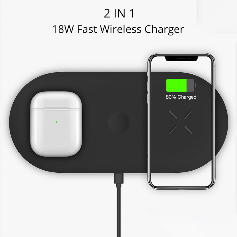 Bonola 3 In1 Wireless Charging Pad For iPhone 11Pro11XRXsMax Charger Dock For Apple Watch 5 Wireless Charger For AirPods Pro (4)