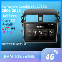 PX6 Android 9.0 DSP Car Radio For Toyota Corolla E140/150 2006-2013 Multimedia Video Player Navigation GPS wifi 4G OBD SWC TMPS