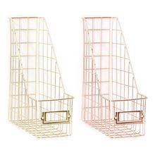 Nordic Wrought Iron Grid File Holder Single Layer Desk Shelf Magazine Book Storage Rack Office Stationery Organizer