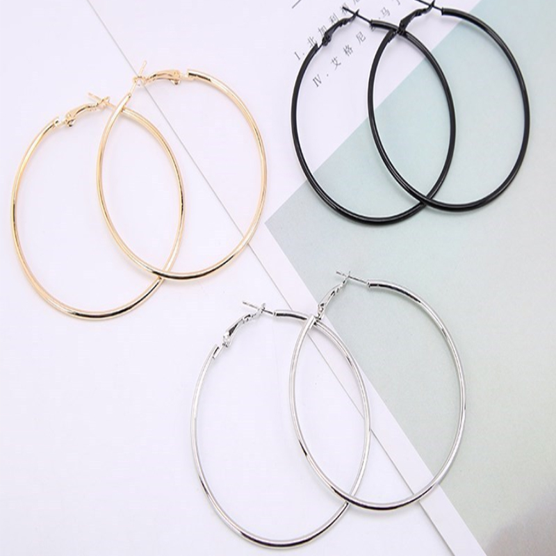 Hoop Earrings for Women/Girls Big Smooth Circle Hanging Charm Gift Gold Vintage...
