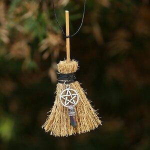 Мини ведьмы Wicca подвеска метла путешествия очарование Wicca Кристалл метла колдовство Кельтский Узел пентаграмма Хэллоуин Шарм ожерелье