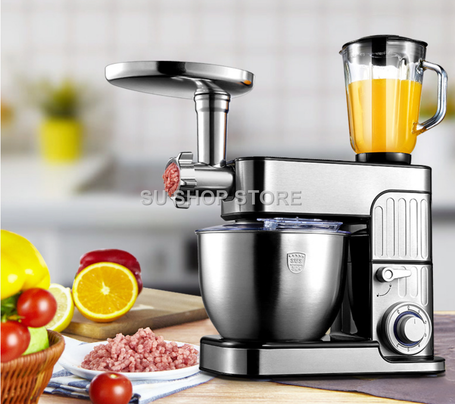 7L Stainless Steel Cover 6-speed Kitchen Chef Electric Food Stand Mixer Egg Whisk Dough Cream Blender Juicer Meat Grinder Mincer